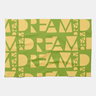 Yellow Dream Geometric Shaped Letters Kitchen Towel