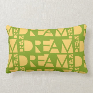 Yellow Dream Geometric Shaped Letters Lumbar Pillow