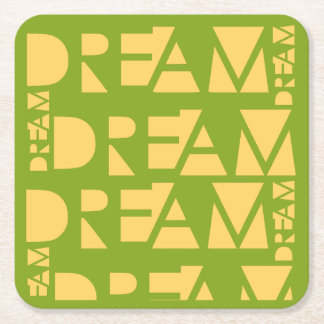 Yellow Dream Geometric Shaped Letters Square Paper Coaster