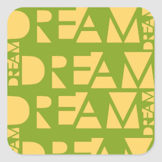 Yellow Dream Geometric Shaped Letters Square Sticker