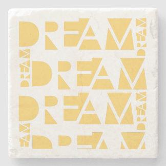 Yellow Dream Geometric Shaped Letters Stone Coaster