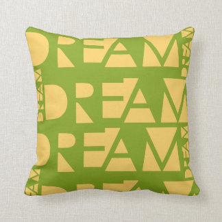 Yellow Dream Geometric Shaped Letters Throw Pillow