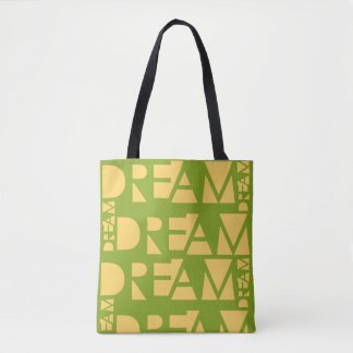 Yellow Dream Geometric Shaped Letters Tote Bag