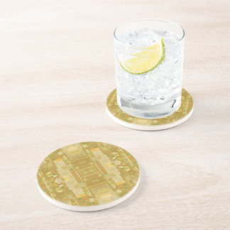 Yellow Drinking Coaster - Bubbles New Square