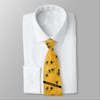 Yellow Drippy Honeycomb with Bumble Bees in a Hive Tie