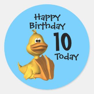 Yellow Duck Birthday 10 Classic Round Sticker