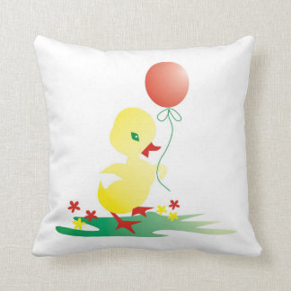 Yellow Duck With Balloon:Cute Kids Pillow