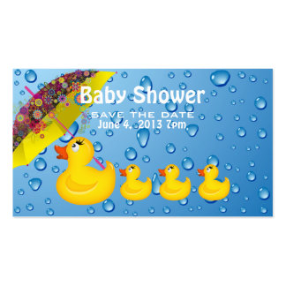 Yellow Duckie Save the Date Baby Shower Business Card