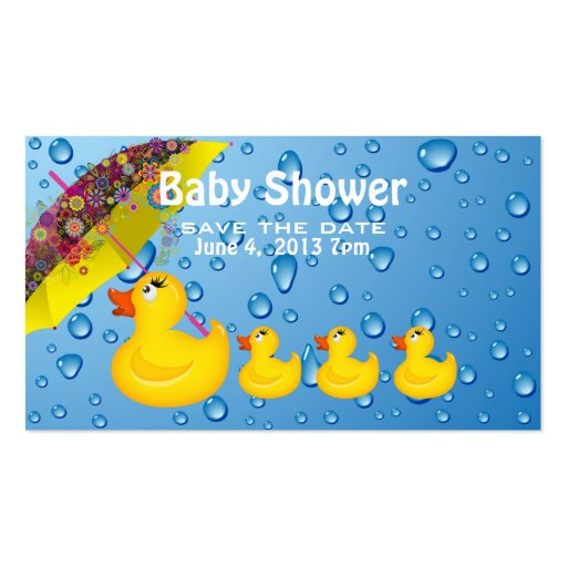 Yellow Duckie Save the Date Baby Shower Business Card Templates