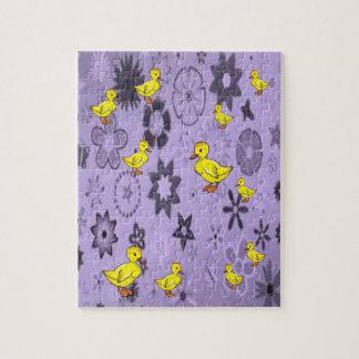 yellow ducks purple pattern jigsaw puzzle everyone