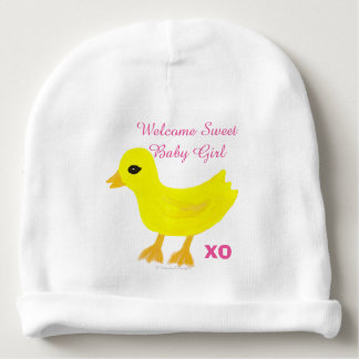 Yellow Ducky Baby Girl PERSONALIZE Hospital Name Baby Beanie