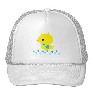 Yellow Ducky Blue Heart Wings Gender Reveal Trucker Hat