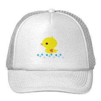 Yellow Ducky Orange Heart Wings Baby Shower Trucker Hat