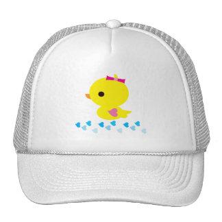 Yellow Ducky Pink Heart Wings Gender Reveal Trucker Hat