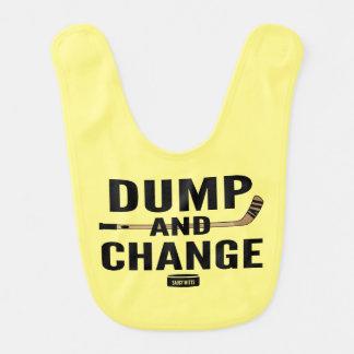 Yellow Dump and Change Hockey Baby Bibs