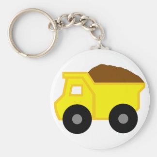 Yellow Dump Truck Basic Round Button Keychain