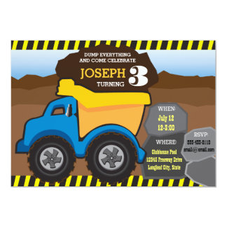 Yellow Dump Truck Birthday Invitation