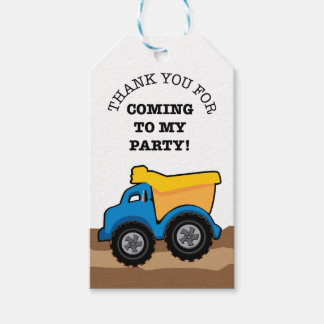 Yellow Dump Truck Birthday Party Tags Pack Of Gift Tags