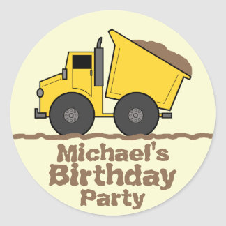 Yellow Dump Truck & Mud Birthday Party Sticker