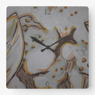 Yellow Eagle Square Wall Clock