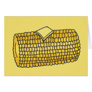 Yellow Ear Corn on the Cob Corncob Butter Picnic Card