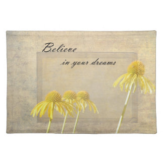 Yellow Echinacea Inspired Floral Place Mats