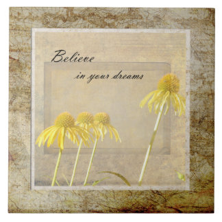 Yellow Echinacea Inspired Floral Tile