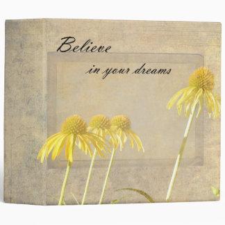 Yellow Echinacea Inspired Floral Vinyl Binders
