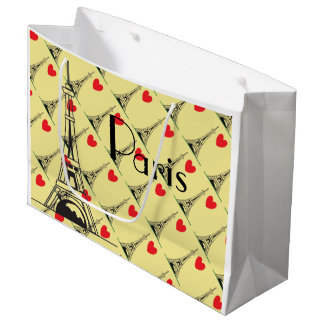Yellow Eiffel Tower Heart Gift Bag