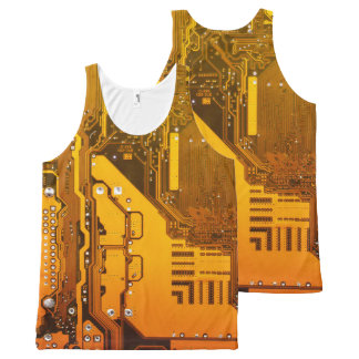 yellow electronic circuit board computer All-Over-Print tank top