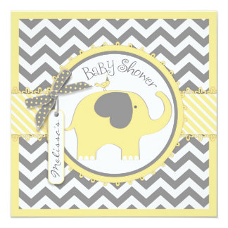 """Yellow Elephant and Chevron Print Baby Shower 5.25"""" Square Invitation Card"""