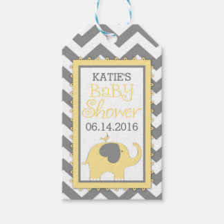 Yellow Elephant Bird Chevron Baby Shower Gift Tags