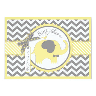 Yellow Elephant Bow Tie Chevron Print Baby Shower Card
