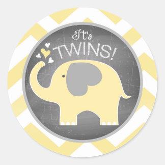 Yellow Elephant Chevron Baby Shower Round Sticker