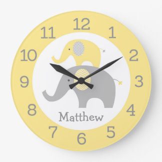 Yellow Elephant Large Clock