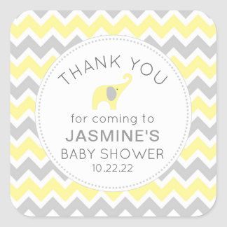 Yellow Elephant neutral gender baby shower favor Square Sticker
