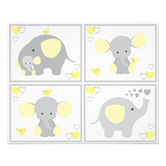 Yellow Elephant Neutral Nursery Wall Art Prints