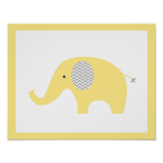 Yellow Elephant Poster