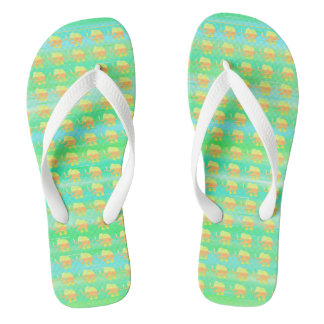 Yellow Elephants on Green and Turquoise Stripes Flip Flops