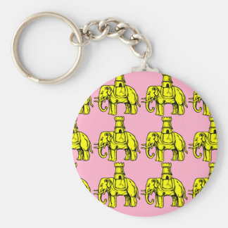 yellow elephants on pink background basic round button keychain