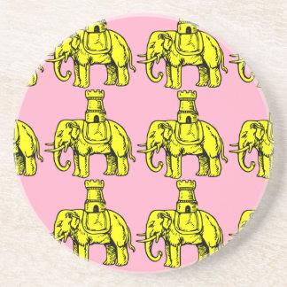 yellow elephants on pink background beverage coaster