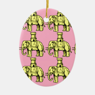 yellow elephants on pink background ceramic oval ornament