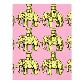 yellow elephants on pink background custom letterhead