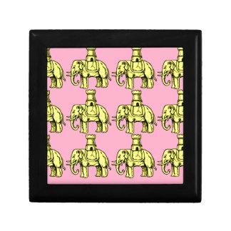 yellow elephants on pink background gift box