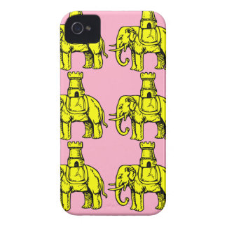 yellow elephants on pink background iPhone 4 Case-Mate case