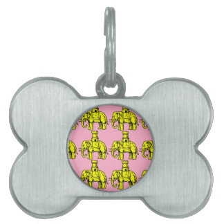 yellow elephants on pink background pet name tags