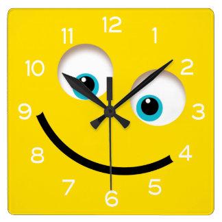 Yellow Emoji Square Wall Clock