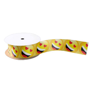 Yellow Emoji Symbol Icon Happy Smiley Face Pattern Satin Ribbon