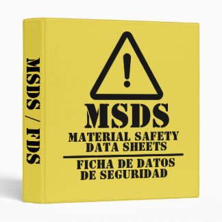 Yellow English and Spanish MSDS / FDS 3 Ring Binder