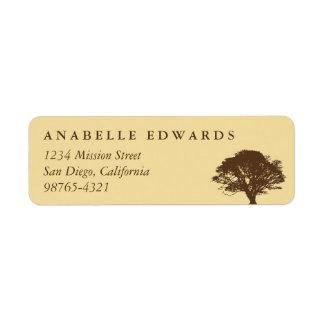 Yellow eternal oak tree custom return address return address label